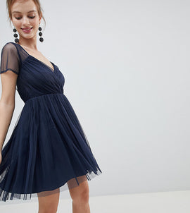 ASOS Petite Tulle Mini Dress with Sheer Sleeve - Navy
