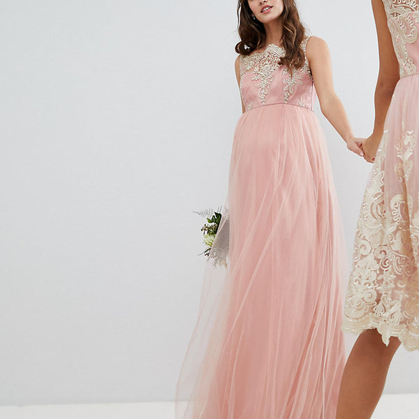 Chi Chi London Maternity Sleeveless Maxi Dress with Premium Lace and Tulle Skirt - Vintage rose/gold