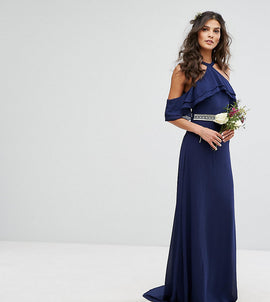 TFNC WEDDING Frill Detail Maxi Dress with Embellished Waist and Fishtail - Navy