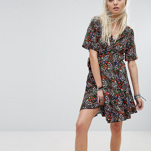 Milk It Vintage Wrap Dress In Ditsy Multicoloured Floral - Multi