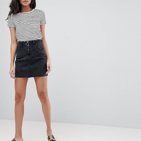 Brave Soul Tall Suzy Denim Skirt With Ring Zip Detail - Black