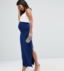 ASOS Maternity Over The Bump Maxi Skirt with Split - Navy