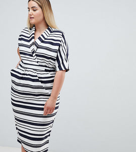 ASOS DESIGN Curve stripe linen midi dress with pockets - Multi