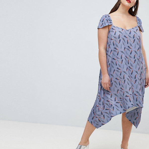 Lost Ink Plus Flutter Sleeve Swing Dress In All Over Feather Print - Multi