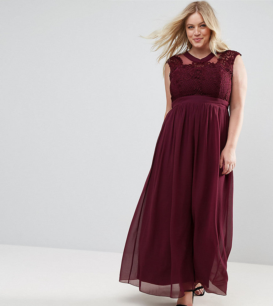 Little Mistress Plus Lace Applique Top Maxi Dress - Berry