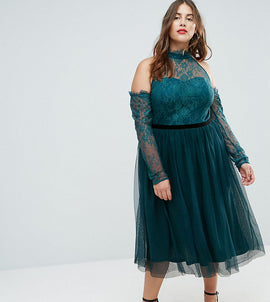ASOS CURVE PREMIUM Tulle Cold Shoulder Midi Prom Dress - Forest green
