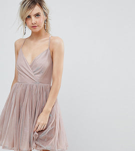 ASOS PETITE Metallic Tulle Mini Dress - Nude