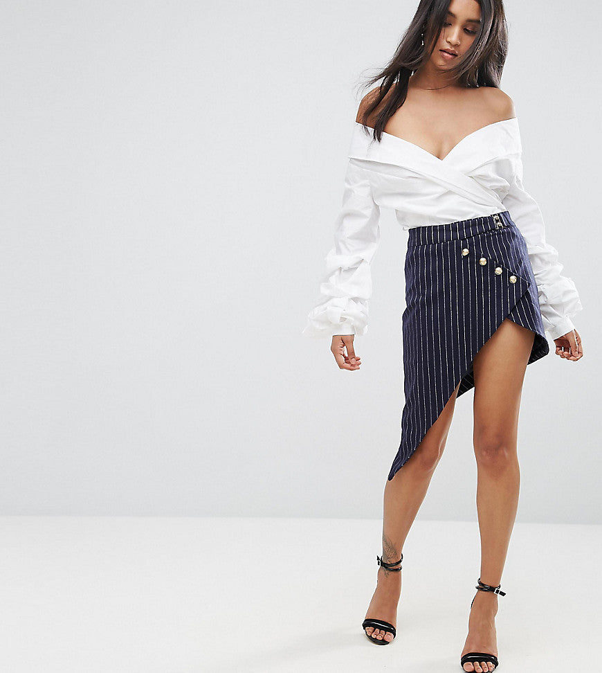 Lioness Pinstripe Asymmetric Mini Skirt - Navy stripe