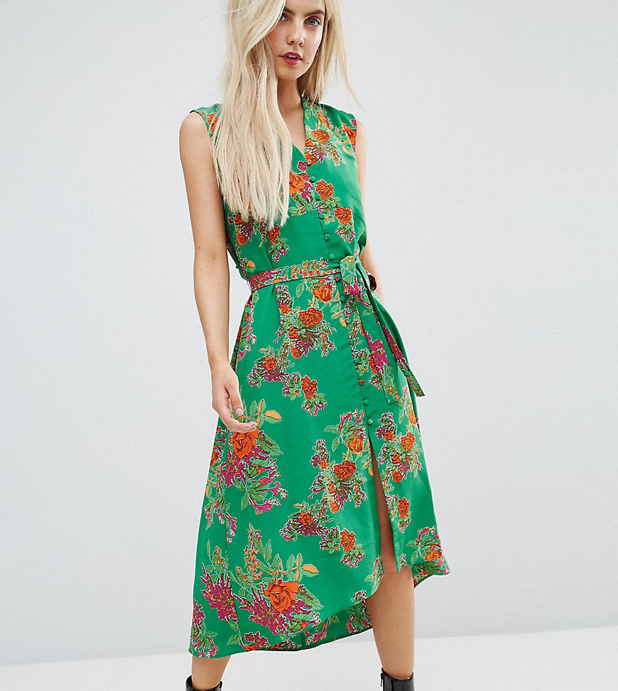 ASOS PETITE Button Through Midi Dress in Floral Print - Multi