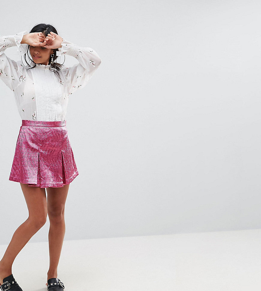 Sister Jane Petite Mini Skort With Pleats & Shorts Underlayer - Pink