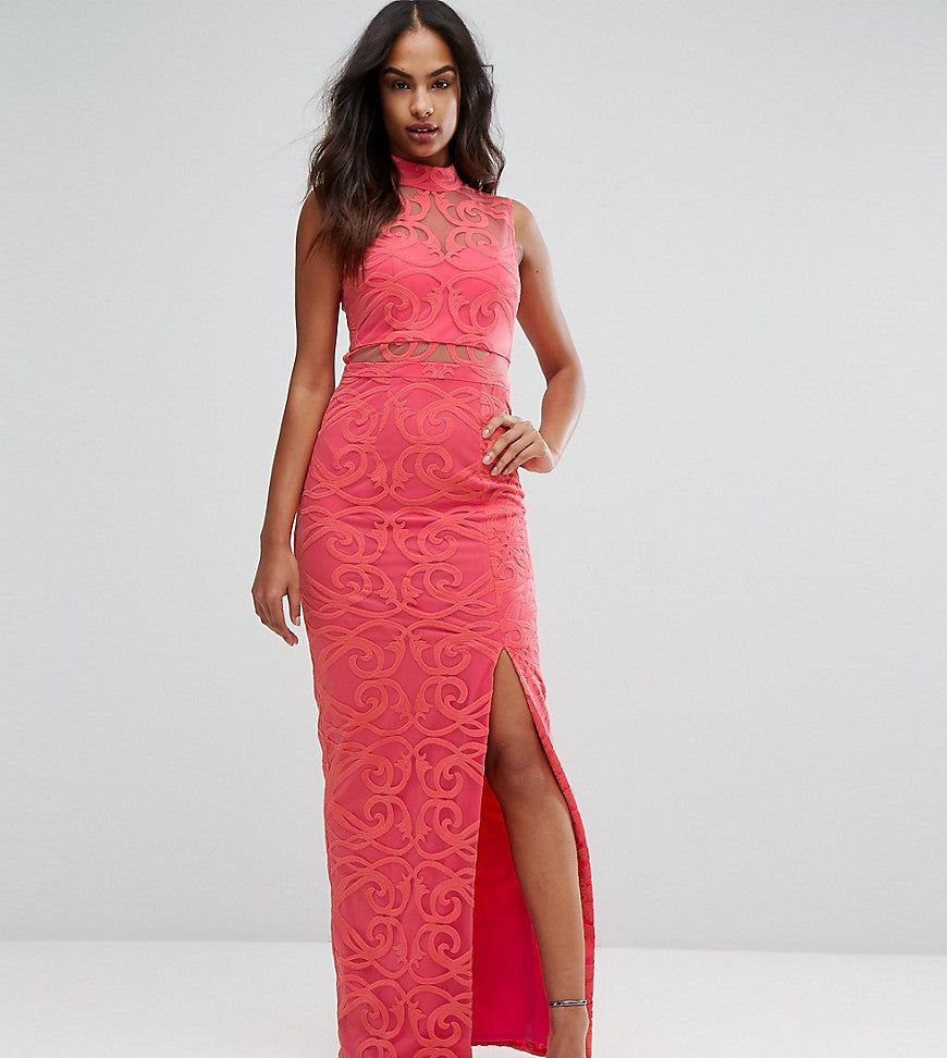 Bariano High Neck Embroidered Lace Maxi Dress - Coral