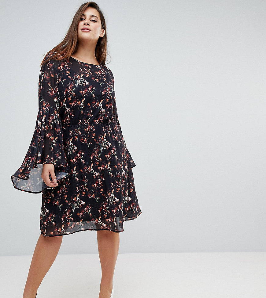Unique 21 Hero Smock Dress With Frill Sleeve In Autumn Blossom Print - Black multi