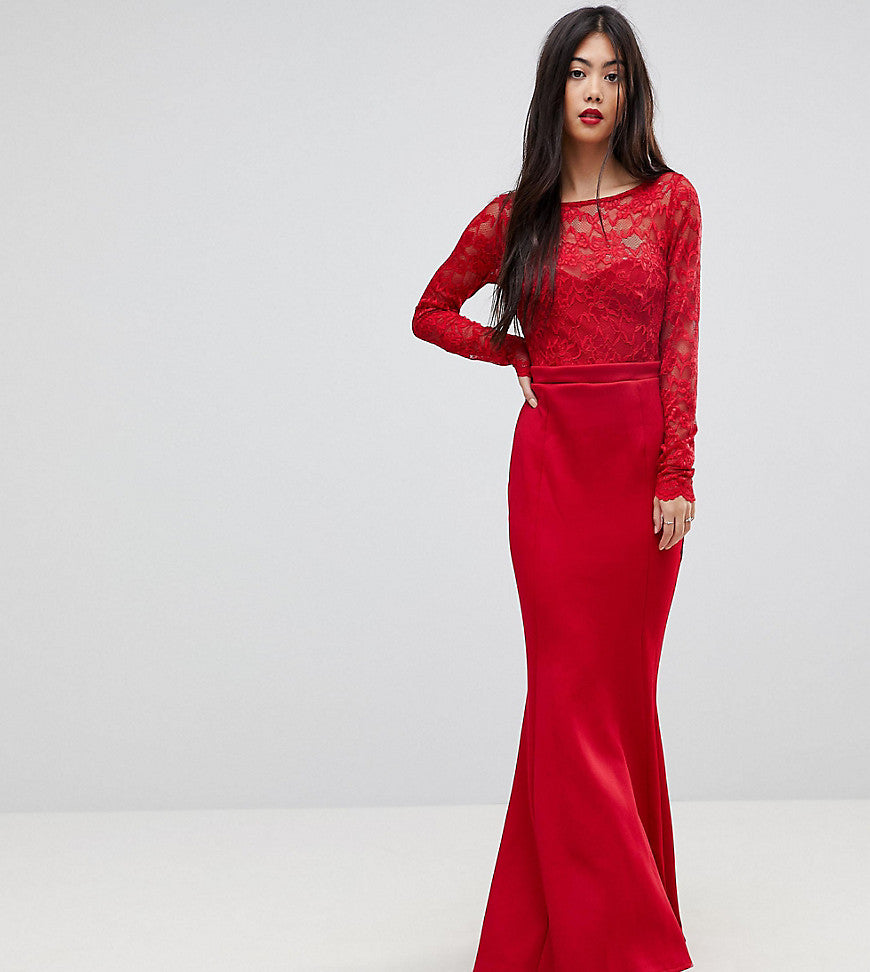 City Goddess Petite Bow Back Maxi Dress With Lace Body - Red