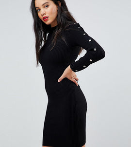 Y.A.S Tall Long Sleeve Knitted Bodycon Dress With Button Detail - Black