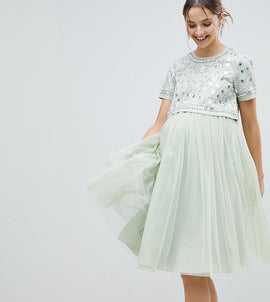 ASOS Maternity embellished crop top tulle midi dress - Mint