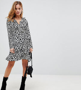 ASOS PETITE Mono Spot Print Ruffle Wrap Mini Dress - Multi