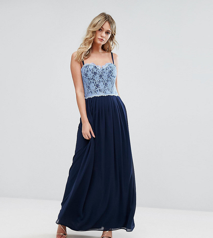 Elise Ryan Corset Detail Maxi Dress With Lace Bodice - Navy/cornflower lace