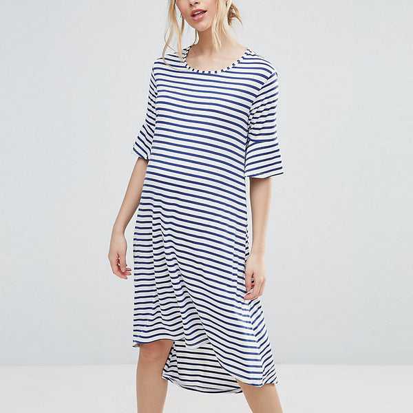 Bluebelle Striped Dip Hem Dress - Stripe
