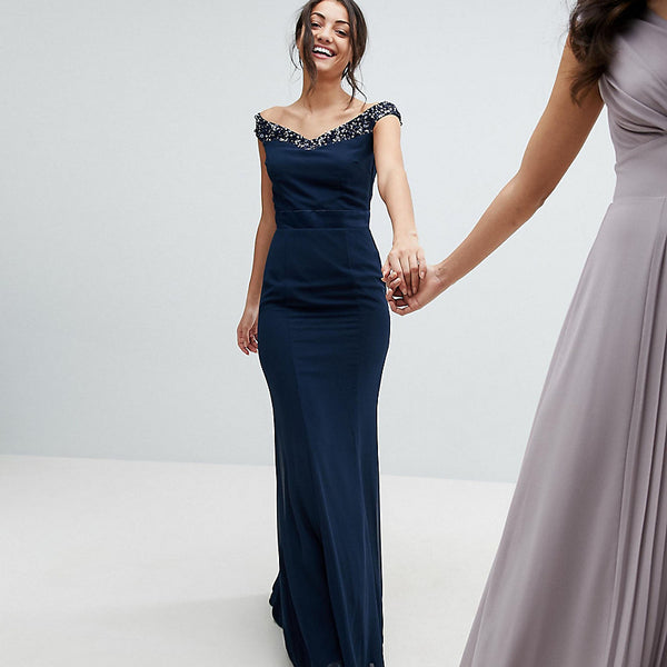 Maya Tall Bardot Sequin Detail Maxi Dress With Bow Back Detail - Navy