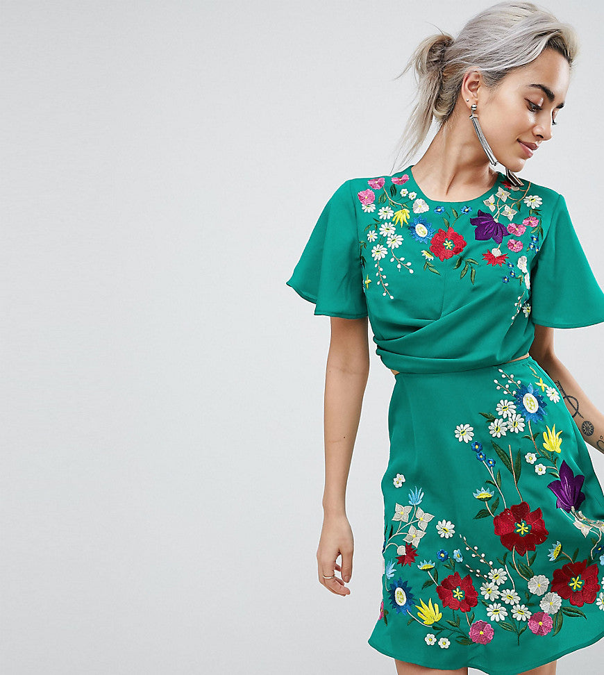 ASOS PETITE Ultimate Embroidered Cut Out Mini Tea Dress - Teal