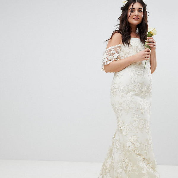 ASOS EDITION Curve Floral Lace Bandeau Maxi Wedding Dress - White