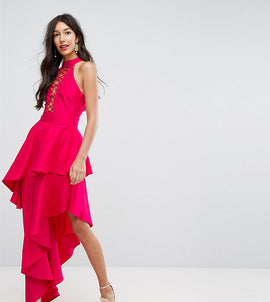 ASOS TALL Sexy Lace Up Tiered Maxi Dress - Pink