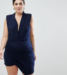 John Zack Plus Sleeveless Wrap Front Mini Dress - Navy