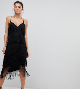 ASOS TALL Fringe & Lace Plunge Bodycon Midi Dress - Black