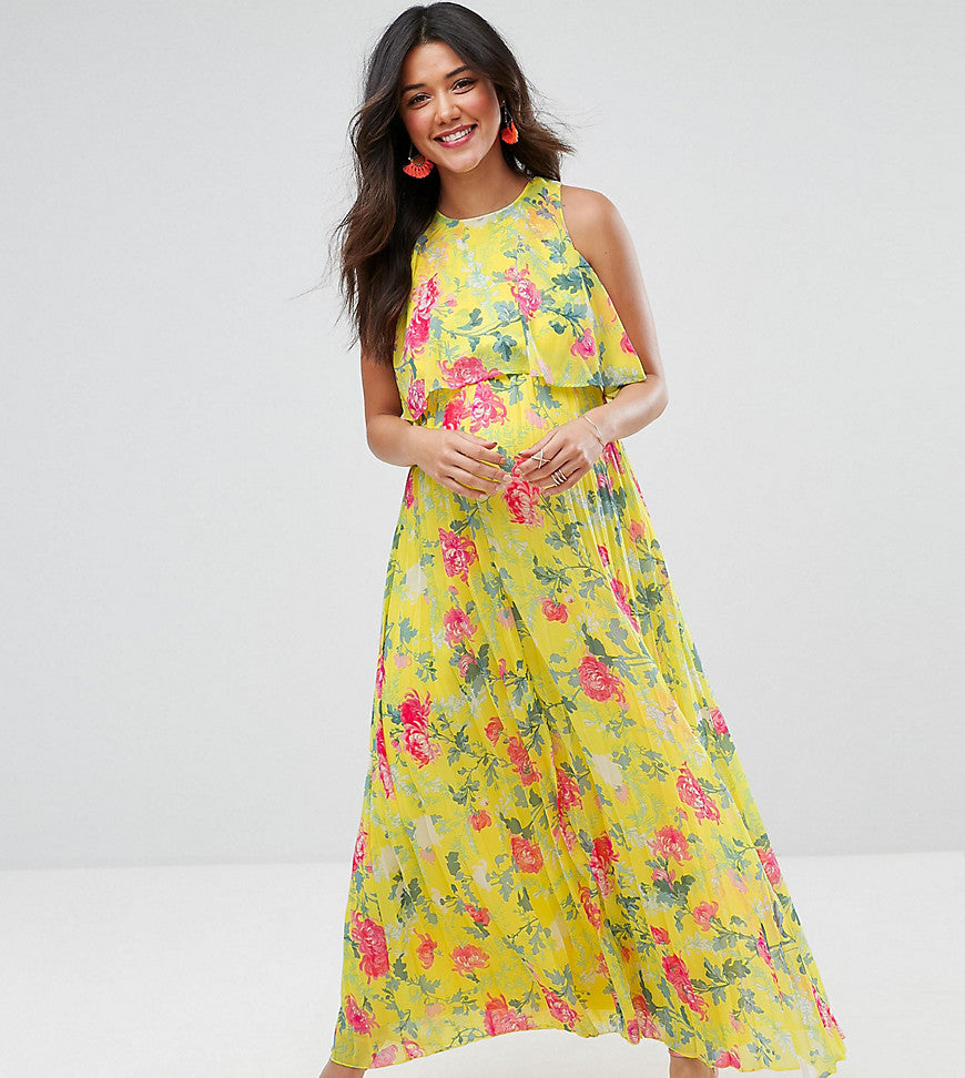 ASOS Maternity Pleat Skirt Floral Maxi Dress - Yellow base floral