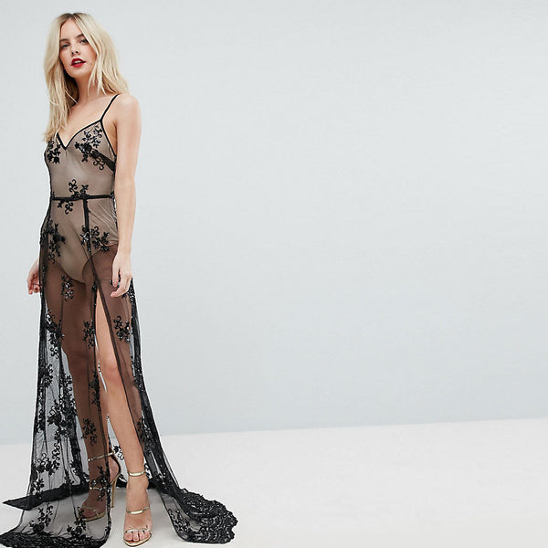 NaaNaa Petite Sheer Sequin Lace Maxi Dress with Bodysuit - Black/nude