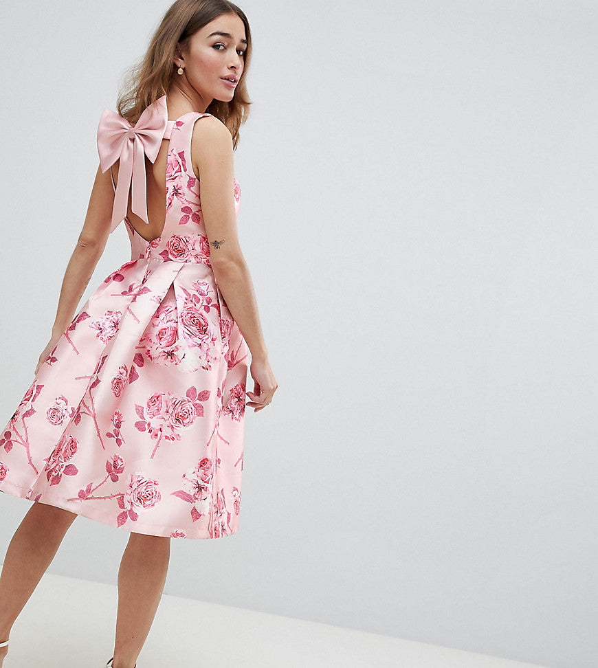 Chi Chi London Petite Midi Dress with Bow Back in Pink Floral Print - Pink multi