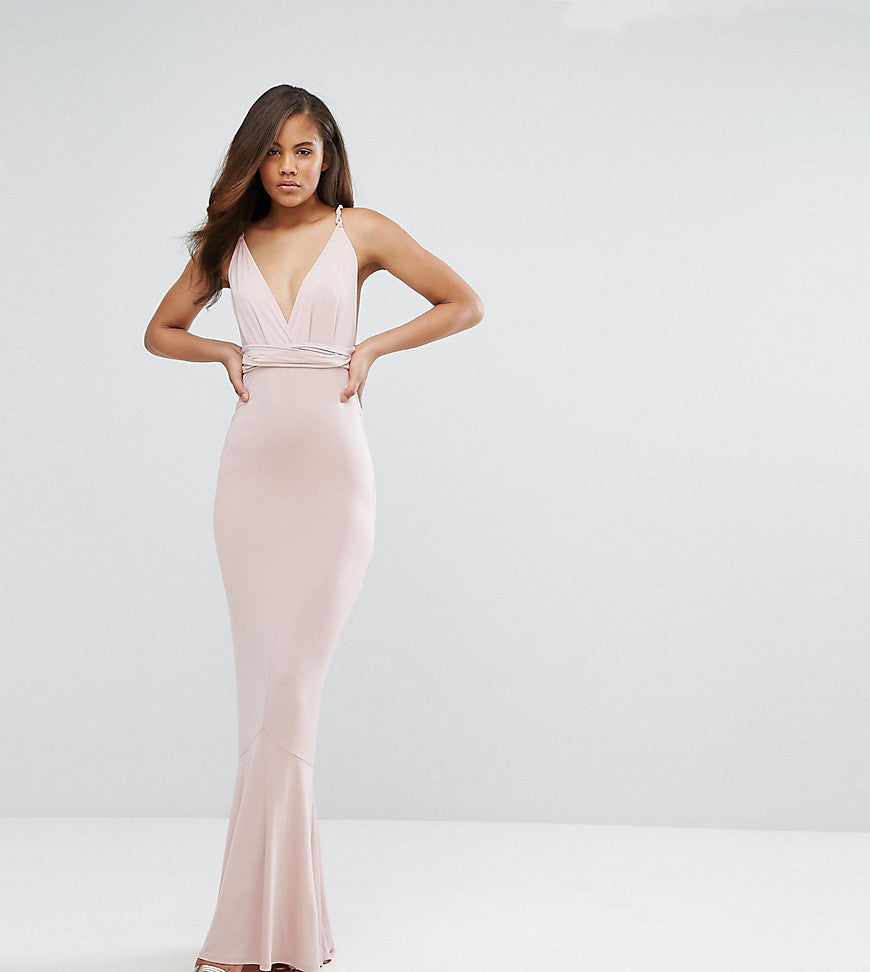 ASOS TALL Slinky Deep Plunge Fishtail Plait Strap Maxi Dress - Nude