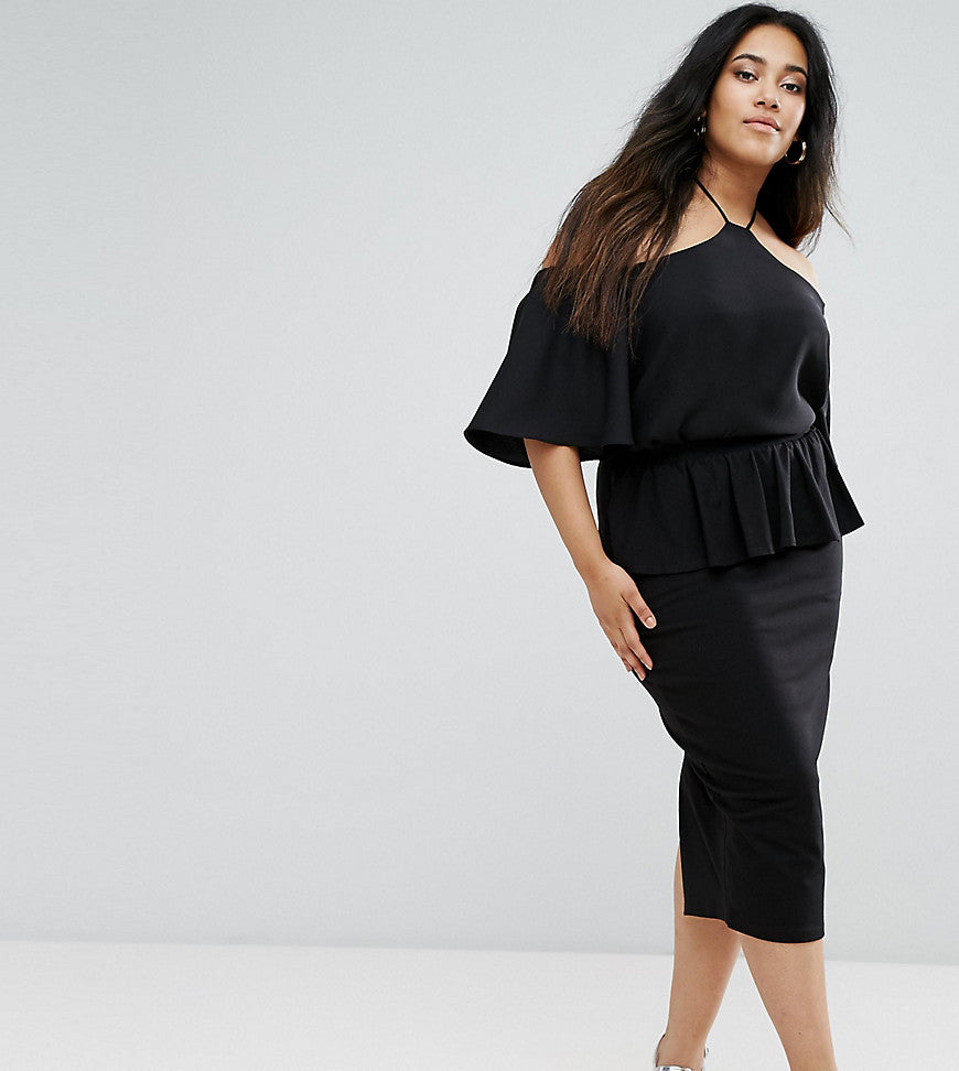 ASOS CURVE High Waisted Pencil Skirt with Ruffle Peplum - Black
