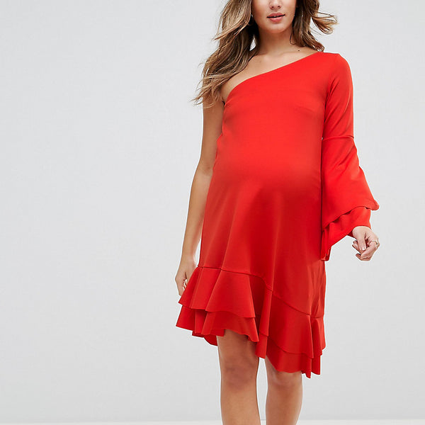 GeBe Maternity One Shoulder Mini Dress With Frill Detail - Red