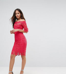Paper Dolls Tall Bardot Allover Lace Pencil Dress - Fuchsia
