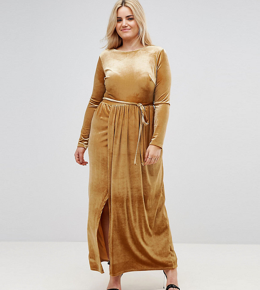 Club L Plus Tie Front Wrap Detail Maxi Dress - Mustard