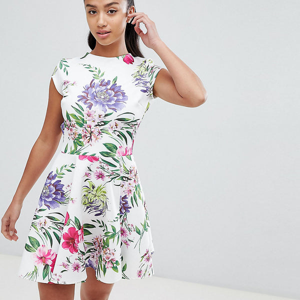 John Zack Petite Allover Printed Mini Prom Dress - Floral multi