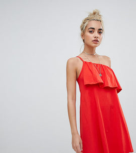 ASOS DESIGN Petite one shoulder sundress with ruffle - Red