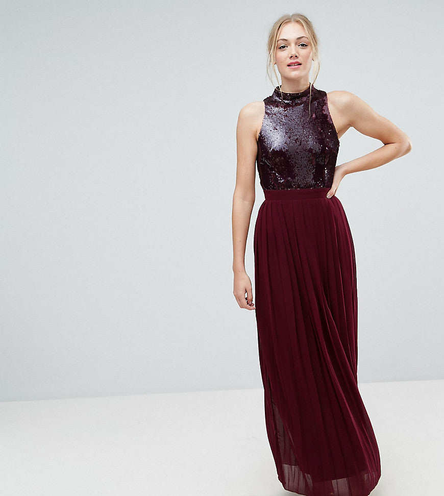 Little Mistress Tall Allover Sequin Top Maxi Dress With Pleated Skirt - Berry