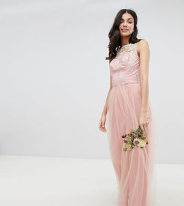 Chi Chi London Tall Sleeveless Maxi Dress with Premium Lace and Tulle Skirt - Vintage rose/gold