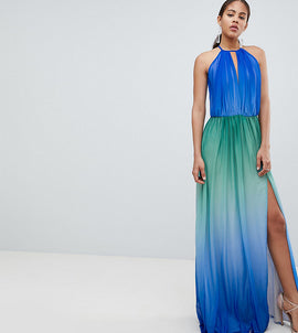 John Zack Tall Plunge Front Maxi With High Thigh Split - Blue ombre
