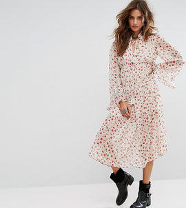 Sacred Hawk Midi Smock Dress With High Neck In Floral - White