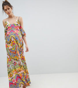 ASOS Maternity Cuban Tile Print Off Shoulder Bardot Frill Maxi Beach Dress - Cuban tile