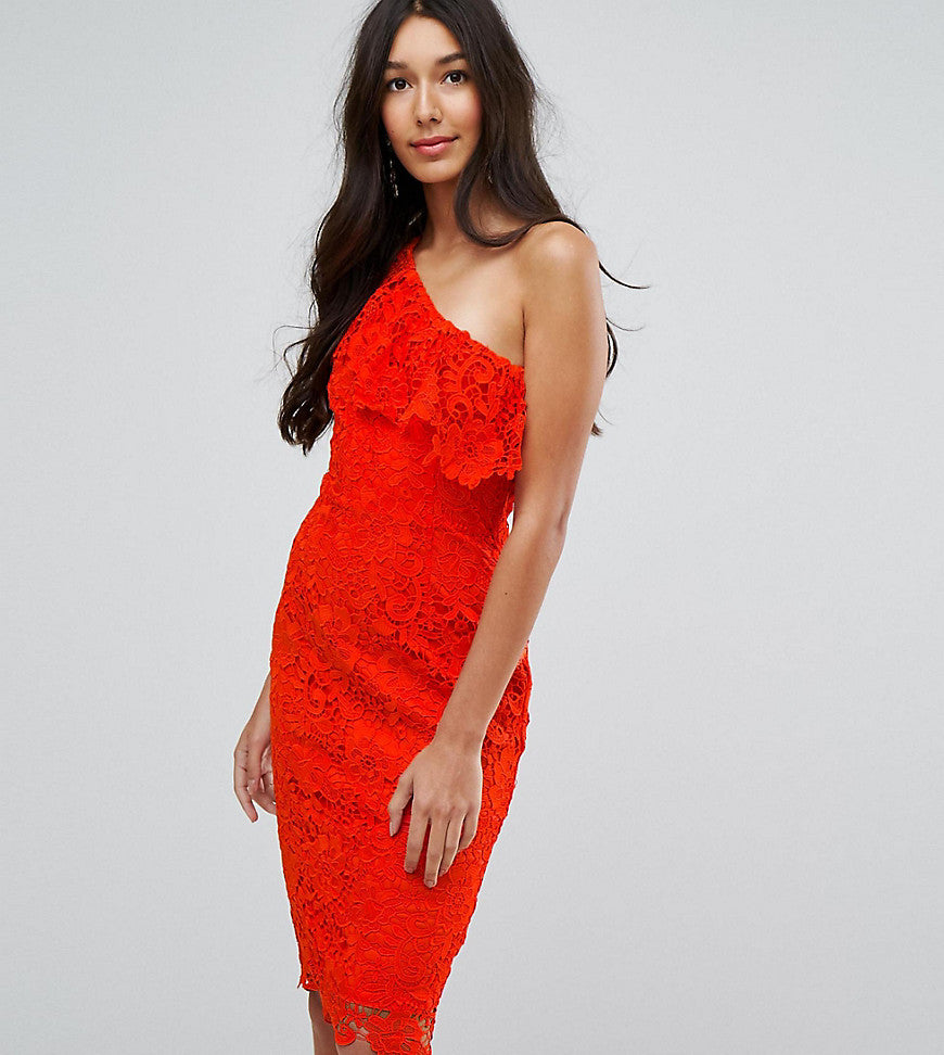 Paper Dolls Tall One Shoulder Crochet Lace Dress - Tomato red