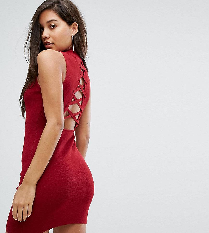 Parallel Lines High Neck Knitted Dress With Lace Up Back - Burgundy