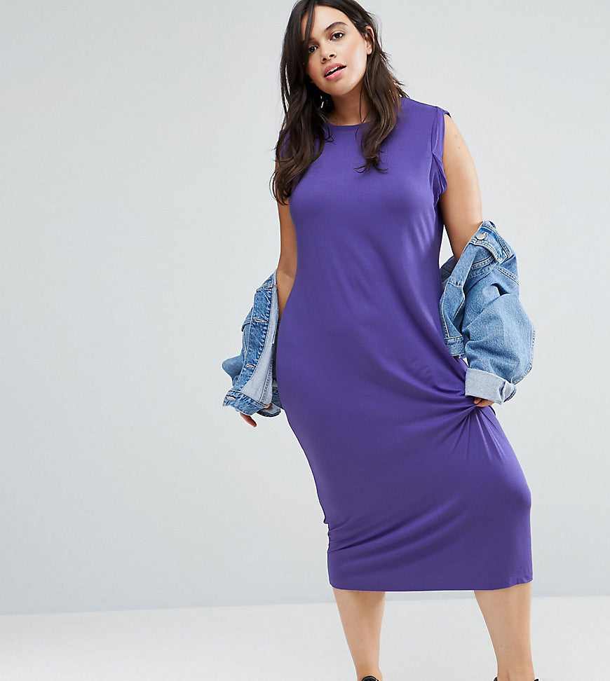 ASOS CURVE Twist Detail Sleeveless Midi Vest Dress - Purple