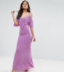 City Goddess Tall Maxi Dress With Frill Detail - Lilac
