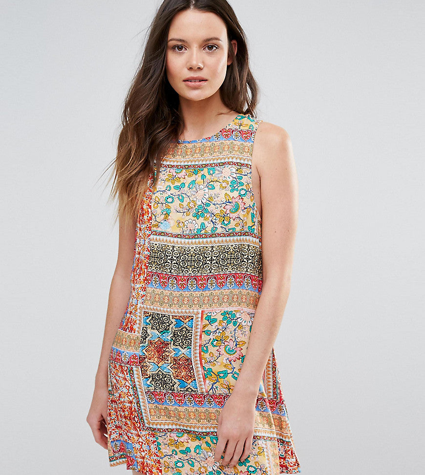 Glamorous Tall Sleeveless Patchwork Tile Printed Shift Dress - Multi