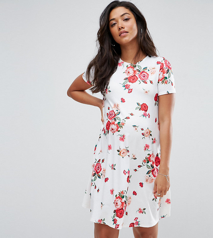 ASOS Maternity Swing Dress in Floral Print - White base floral