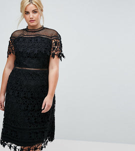 Chi Chi London Plus Lace High Neck Midi Dress - Black